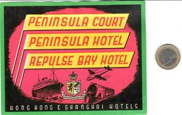 ETIQUETA DE HOTEL  -   PENINSULA COURT  -HONG KONG & SHANGHAI HOTELS - Hotel Labels