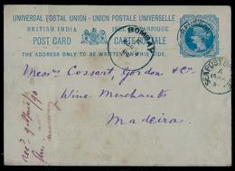BURMA. 1890 (7 March). Rangoon - Madeira / Port Atlantic Isl (8 April). India Blue Stat Card Via Bombay + Sea PO Arrival - Burma (...-1947)
