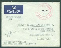 DUTCH INDIES. 1959 (11 May). Djakarta - UK. British Embassy Diplomatic Mail. Air Env. VF. Arrival Cds Cachet. - Nederlands-Indië