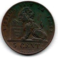 Belgique  -  5 Centimes 1852  -  Km # 5.1  -  état  TTB+ - 1831-1865: Léopold I