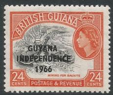 Guyana. 1966 Independence O/P. 24c MH. Sideways Block CA W/M SG 403 - Guyana (1966-...)