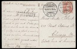 Switzerland - XX. 1915 (16 July). Cortebert - USA / Chicago. Fkd PPC Amblant Nº 12 Cds + Stline Town Name. Fine. - Suisse