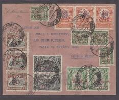 PERU. 1915 (17 Dec). Lima - Argentina (29 Dic). Reg Massive Fkd Env Overprinted Issue Incl Shifted Ones Varieties 14 Sta - Peru