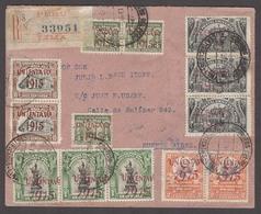 PERU. 1915 (13 Dec). Lima - Argentina (29 Dec). Reg Multifkd Ovptd Issue Env. Shifted Ovpts / 13 Stamps. XF. - Peru