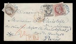 GERMAN STATES-HANOVER. 1863 (29 April). Gottingen - France. Tricolor Fkd Env Blue Cds + Transits. Irregular Cut Out. Att - Deutschland