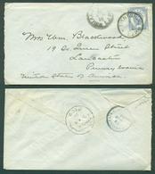 CHINA. 1896 (9 March). Japanese PO Tientsin - USA (14 April). Early Japan 5 Sen Blue Tied JPO )xxx / R). Via Shanghai - - China
