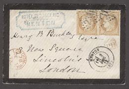 FRANCE. 1873 (3 Dec). Menton - UK (5 Dec). Hotel Cakd Env 15c Pair. Nice Cover. - Sin Clasificación