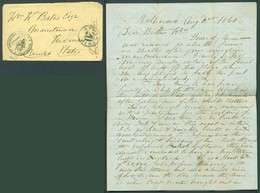 CHILE. 1860 (2 Aug). Valp - USA. US Consular Mail. Stampless Env With Full Dated Contains With Striking Mark Of Front Of - Chile