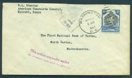 BC - Kenya. 1945 (Aprl). US Diplomatic Mail. Washington Cancelled. Nairobi - USA. Fkd Env. Fine. Unusual Small Size. - Ohne Zuordnung