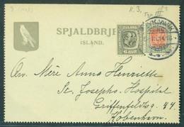 ICELAND. 1914 (9 March). Reykjavik - Denmark. Internal Stat Letter Sheet + Adtl Cds. Type III. Fine Used. - Islande