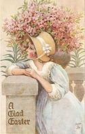 """""""Pretty Girl With Flowers"""" Lovely Tuck Easter Reveries Series PC # 1007 - Tuck, Raphael"""