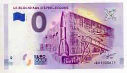 2018-2 BILLET TOURISTIQUE FRANCE 0 EURO SOUVENIR N°UEDT000671 LE BLOCKHAUS D'EPERLECQUES - EURO