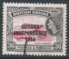 Guyana. 1966 Independence O/P. 36c Used. Upright Block CA W/M SG 393 - Guyana (1966-...)