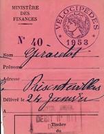 Taxe Fiscale Vélocipède 1953 - Revenue Stamps