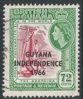 Guyana. 1966 Independence O/P. 72c Used. Upright Block CA W/M SG 395 - Guyana (1966-...)