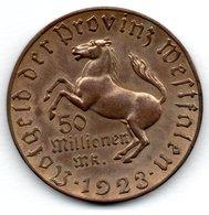 Westphalie -  50 Millionnen Mark 1923  -  1 Coup Tranche Sinon SUP - [ 3] 1918-1933 : Weimar Republic