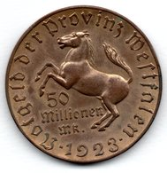 Westphalie -  50 Millionnen Mark 1923  -  1 Coup Tranche Sinon SUP - Unclassified
