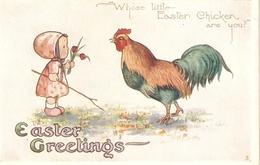 """""""Litle Girl With Cock"""" Lovely Tuck Oilette Little Easte Chicks Ser. PC # E 1195 - Tuck, Raphael"""