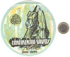 ETIQUETA DE HOTEL  -CONTINENTAL SAVOY  -CAIRO -EGYPT - Hotel Labels