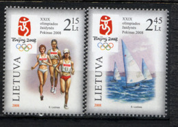 LITUANIE LIETUVA 2008, J.O. Pékin, Marathon Et Voile, 2 Valeurs, Neufs / Mint. R1781 - Litauen