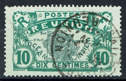 Réunion Island, Map Of The Island, 10c., Green, 1922, VFU  Nice Postmark - Reunion Island (1852-1975)