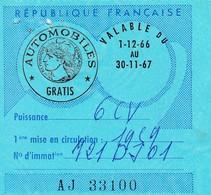 Taxe Fiscale Vignette Automobile. Tarif Gratis  6CV  1966-67 - Revenue Stamps