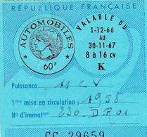 Taxe Fiscale Vignette Automobile. Tarif 60 F 8 à 16 CV  1966-67 - Revenue Stamps