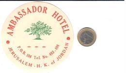 ETIQUETA DE HOTEL  - AMBASSADOR HOTEL  -JERUSALEM -H.K. OF JORDANIA - Etiquetas De Hotel