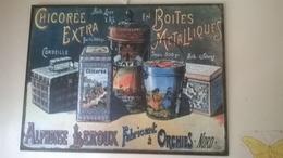 Plaque Peinte Publicité Chicorée Leroux  26,5 Cm X 35 Cm - Plaques En Tôle (après 1960)