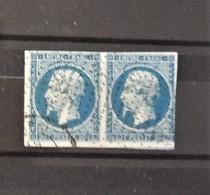 France N°14A En Paire Avec Obltération Roulette De Petits Points - 1853-1860 Napoleon III