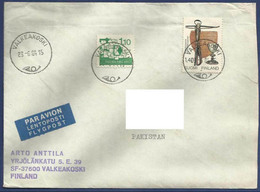 FINLAND 1984 POSTAL USED AIRMAIL COVER TO PAKISTAN - Airmail