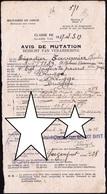 AVIS DE MUTATION DU BRIGADIER TAVERNIER ( Chasseurs à Cheval à Bruges ) De La Classe 1917-19 - Dépose Armes à Contich - - Guerre 1914-18