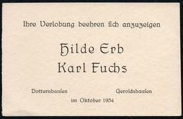 C4179 - Dotternhausen Geroldshausen - Hilde Erb Karl Fuchs Visitenkarte - Visitenkarten