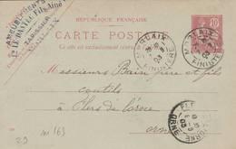 "MORLAIX  - Cachet Magasin  "" LE DANTEC FILS ""  Sur Entier Postal - Scan Recto-verso - Enteros Postales"