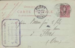 """PERIGUEUX - Cachet Magasin  """"PILLOUD   """" Sur Entier Postal - Scan Recto-verso - Enteros Postales"""