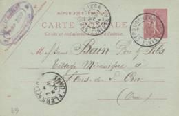 """Saint Pol De Leon - Cachet Magasin  """" VICTOR RIOU  """" Sur Entier Postal - Scan Recto-verso - Postales Tipos Y (antes De 1995)"""