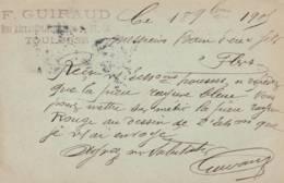 "TOULOUSE  Cachet Magasin  ""F.GUIRAUD ""  Sur Entier Postal - Scan Recto-verso - Biglietto Postale"