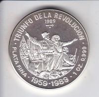 MONEDA DE PLATA DE CUBA DE 10 PESOS AÑO 1989 TRIUNFO DE LA REVOLUCION - Cuba