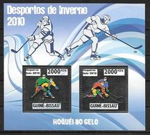 GUINEE BISSAU Feuillet N° 3341/42 * * ARGENT ( Cote 22e ) Hockey Sur Glace - Eishockey