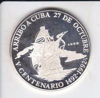 MONEDA DE PLATA DE CUBA DE 10 PESOS AÑO 1990 ARRIBO A CUBA (SILVER-ARGENT) BARCO-SHIP - Cuba