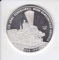 MONEDA DE PLATA DE CUBA DE 10 PESOS AÑO 1996 DE 150 AÑOS FERROCARRIL AUSTRIA (SILVER-ARGENT) TREN-TRAIN-ZUG - Cuba