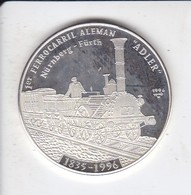 MONEDA DE PLATA DE CUBA DE 10 PESOS AÑO 1996 DEL 1º FERROCARRIL ALEMAN (SILVER-ARGENT) TREN-TRAIN-ZUG - Cuba