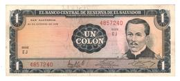 El Salvador 1 Colon 1972, (22/Feb/1977) XF/AUNC. Rare - El Salvador