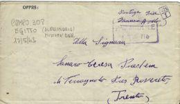 BIGLIETTO PRIGIONIERI POW CAMP 308 ALEXANDRIE EGITTO 1943 X TERRAGNOLO - 1900-44 Vittorio Emanuele III