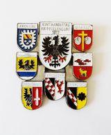 Broche Plaque 7 Blasons Villes Allemagne Volksmarch 1977 - Obj. 'Remember Of'
