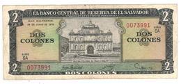 El Salvador 2 Colones 1976, VF+. - El Salvador