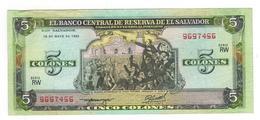 El Salvador 5 Colones 1990, VF/XF. - Salvador