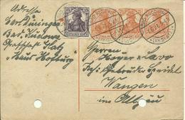 1921 Germania 2x7,5 Pf + Zusatzfrankatur 25 Pf Auf Karte Von Bad Kudowa Nach Wangen  Richtiges Porto (40Pf) - Germania
