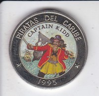 MONEDA DE CUBA DE 1 PESO DEL AÑO 1995 DE PIRATAS DEL CARIBE - CAPTAIN KIDD - Cuba