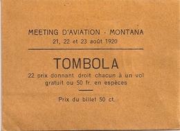 Aviation - Meeting D'aviation De Crans-Montana - Août 1920 - Rarissime - Tickets